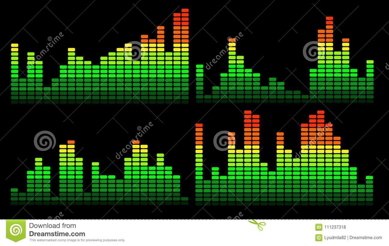 Stylish Red, Yellow, Green Equalizer 3 Stock Vector