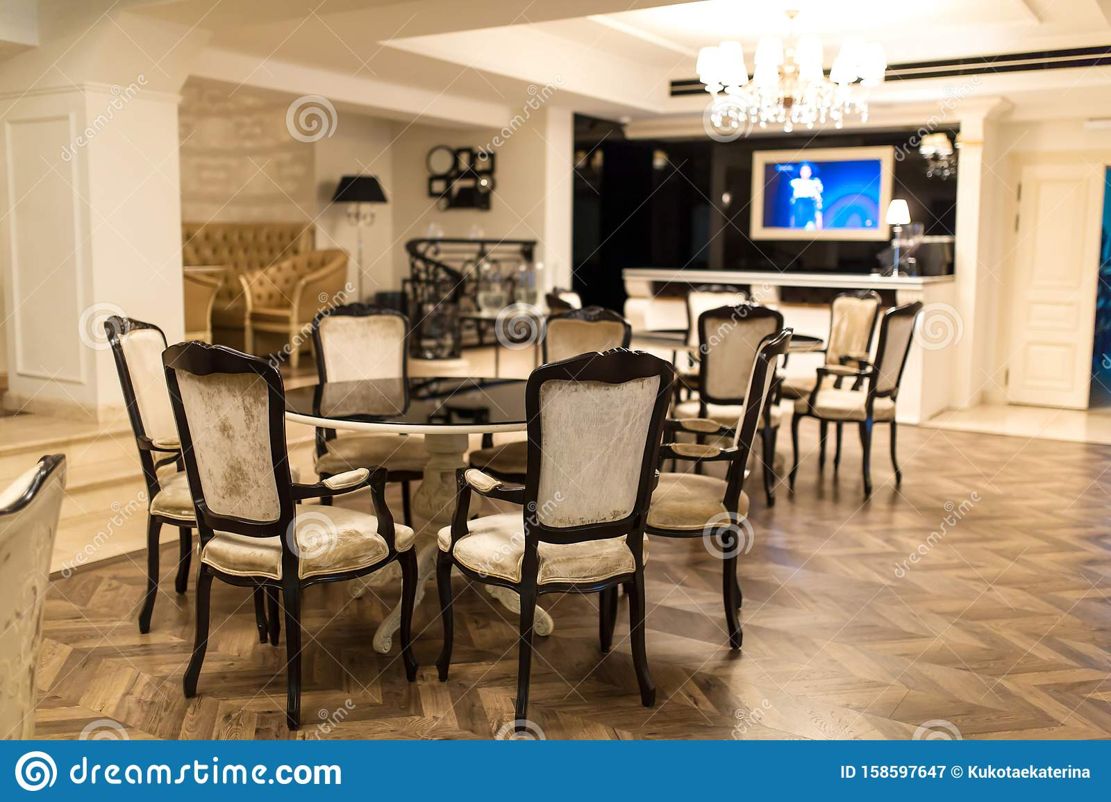 Stylish Restaurant Small Round Table For 5 People Near The Bar Stock Image Image Of Dinner Decoration 158597647