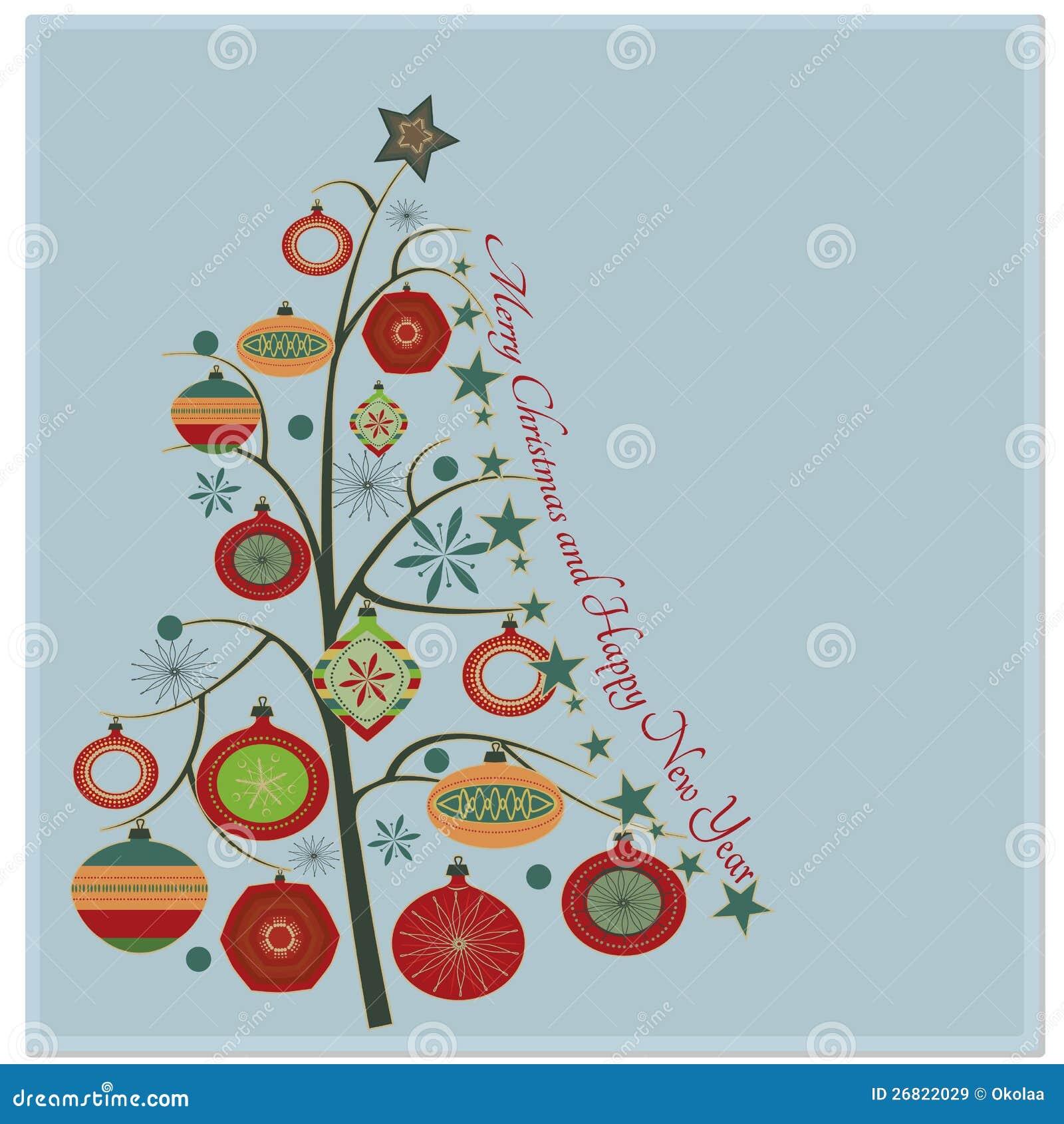 Stylish Retro Christmas Tree Stock Vector