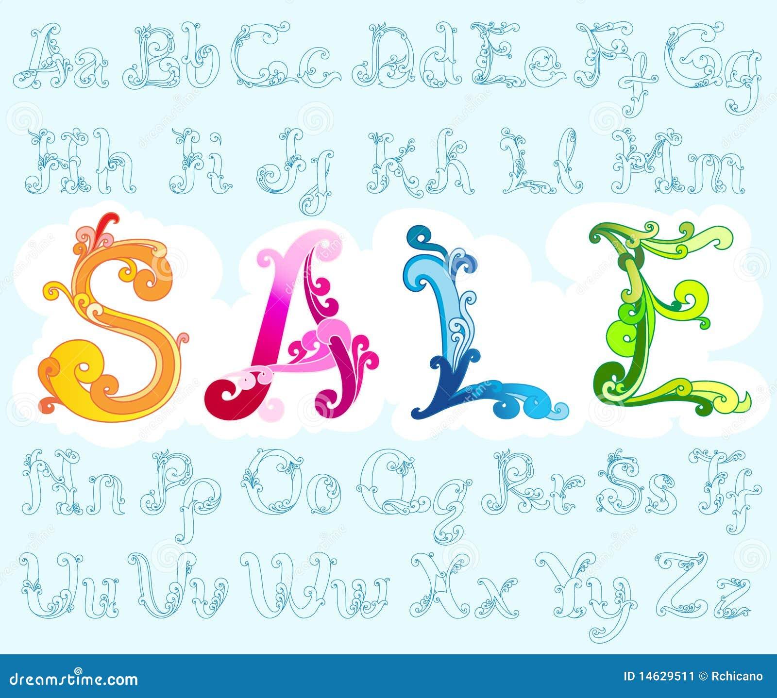 Stylish Retro Font Full Alphabets Stock Vector