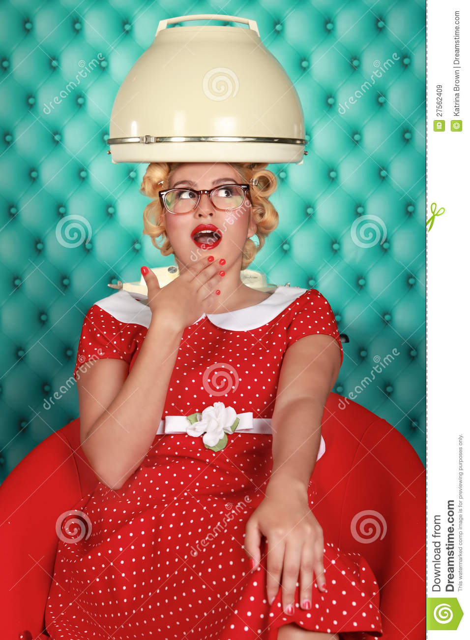 Stylish Retro Woman Having Her Hair Dried