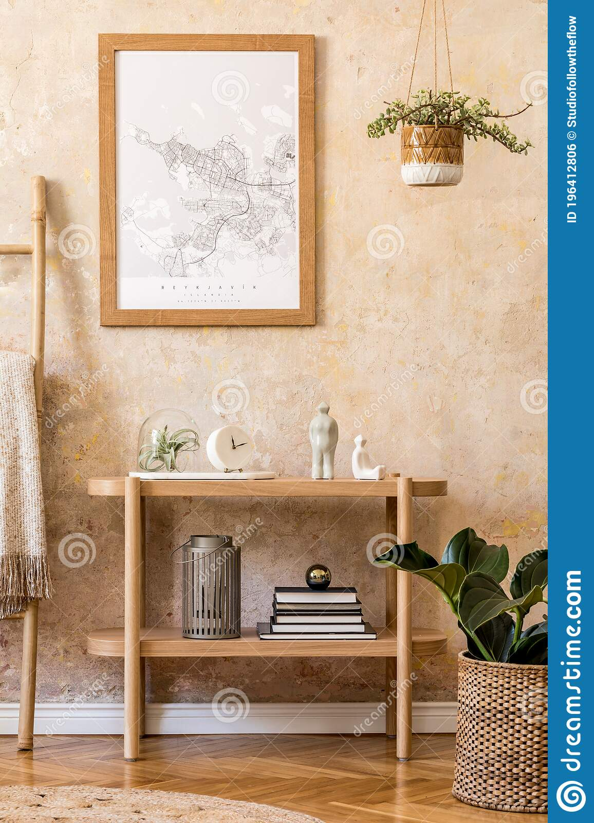 Stylish Scandinavian Interior Of Living Room With Mock Up Poster Frame Wooden Console Plants Ladder Decoration Grunge Wall Stock Photo Image Of Cabinet Copy 196412806