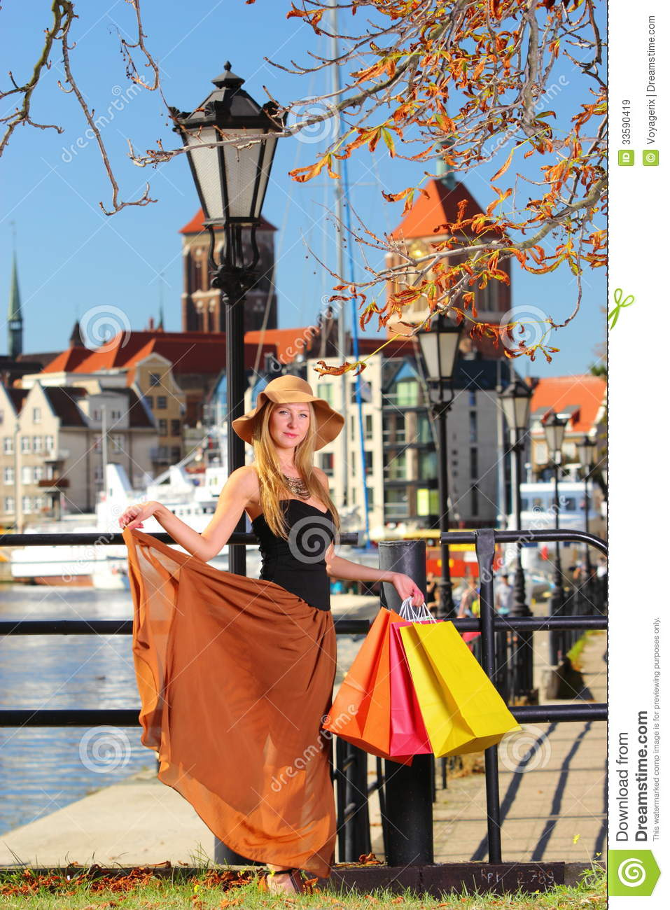 Stylish Shopper Woman In Old Town Gdansk Royalty Free Stock Images Image 33590419