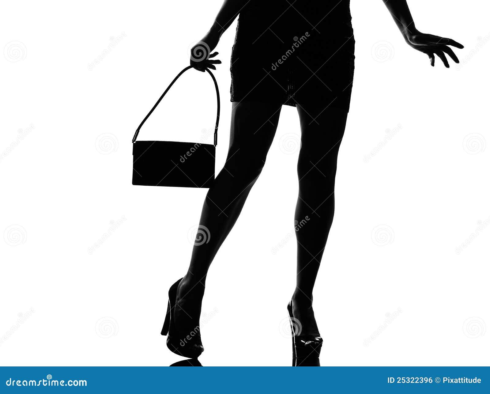 Stylish Silhouette Woman Legs Walking Royalty Free Stock ...