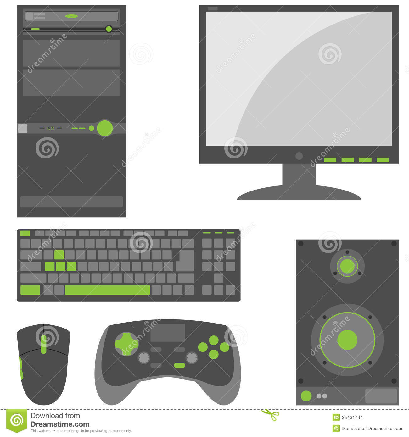 stylish  simple external computer parts stock images