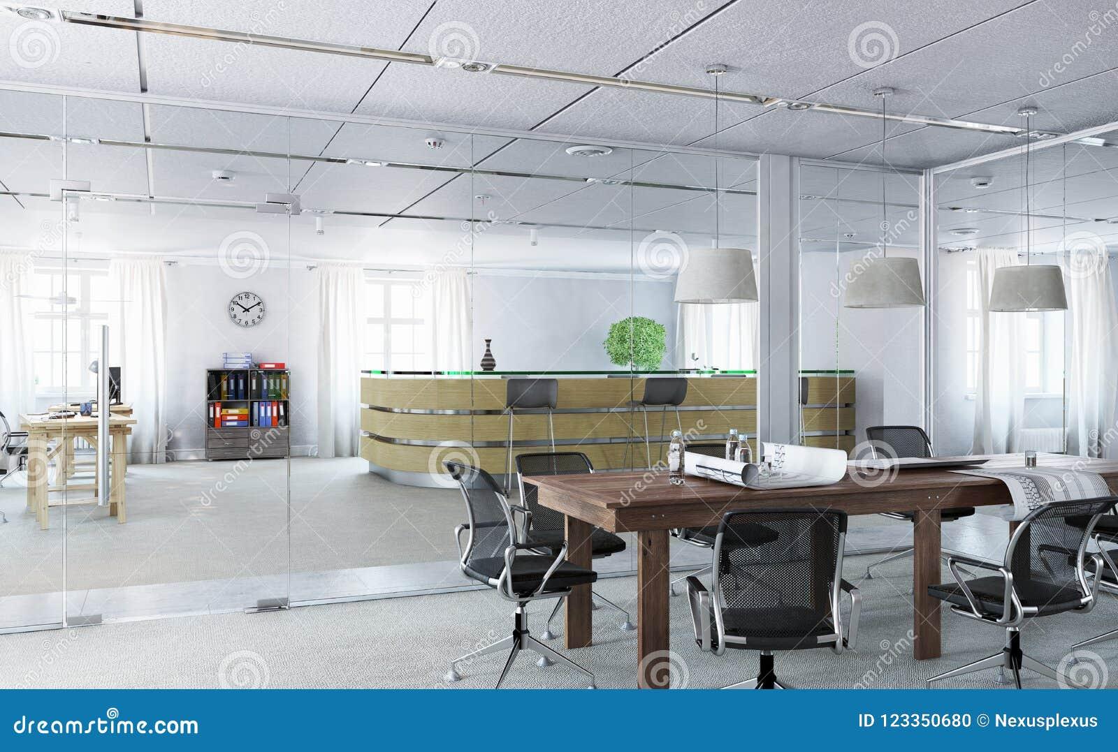 Elegant office interior mixed media