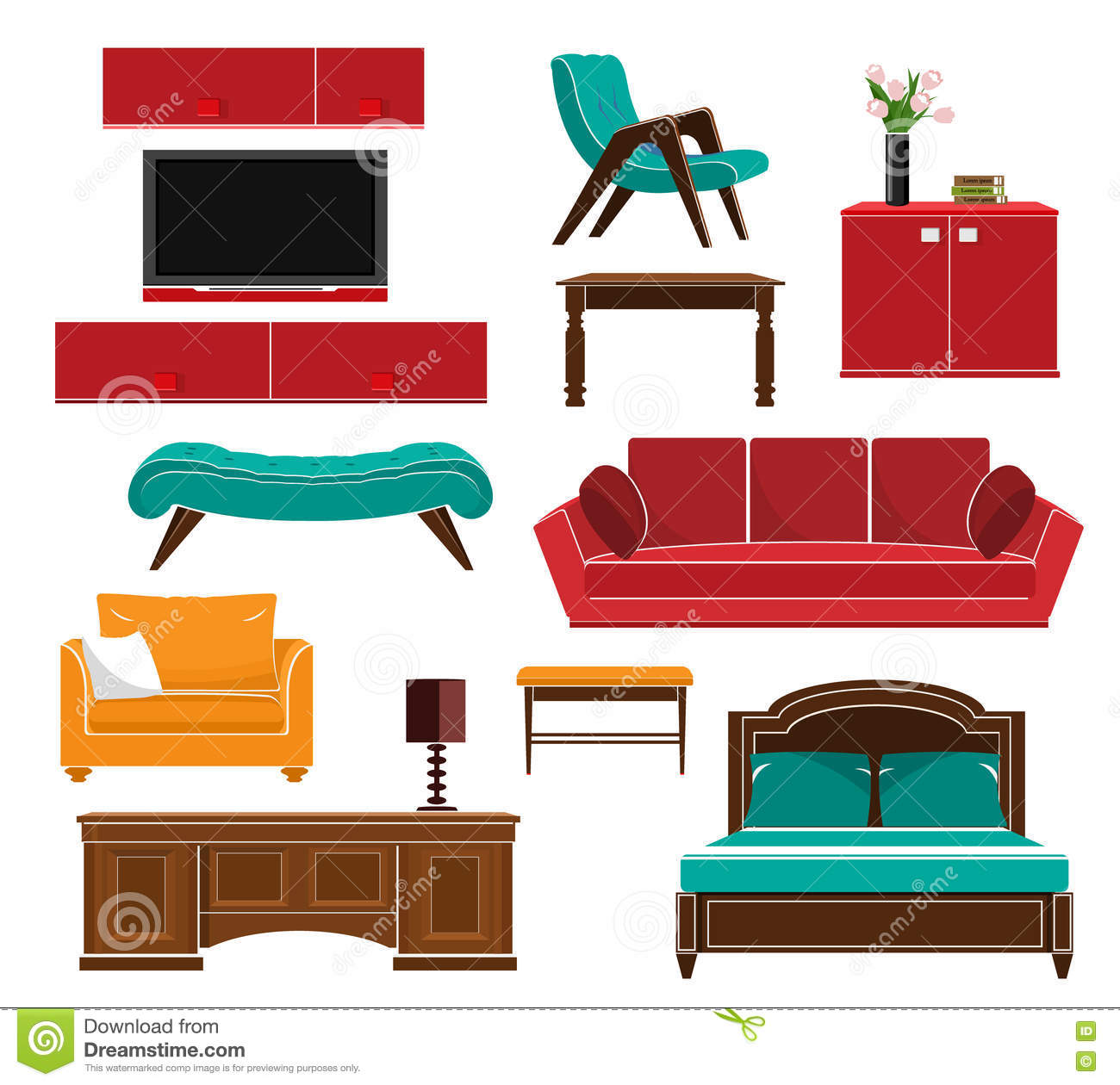 Simple table free other icons - Stylish Simple Style Furniture Icons Set Sofa Table Armchair Chair Cupboard Bed Flat Style