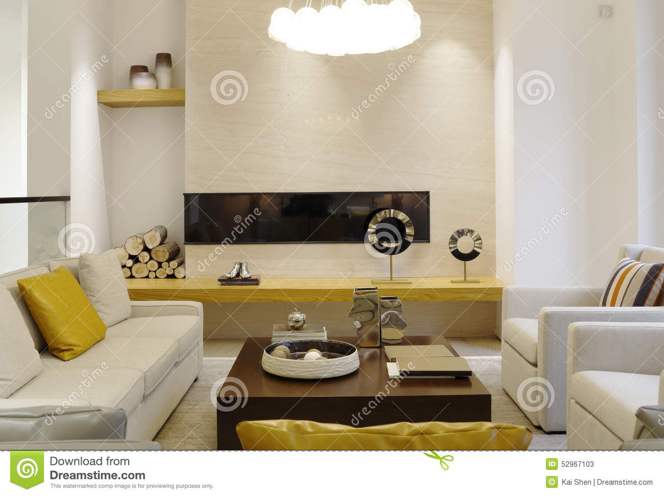 Stylish Sitting Room In The Villa Stock Image - Image of curtain ...