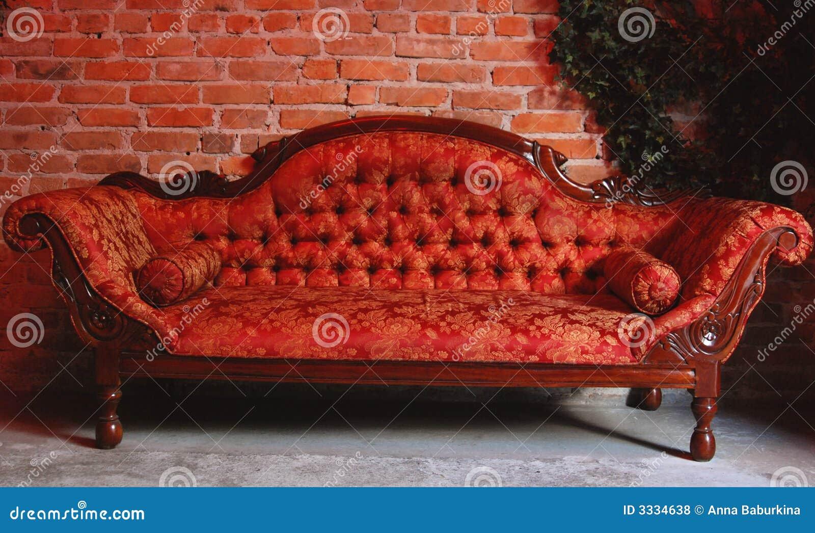 red retro sofa stylish ...
