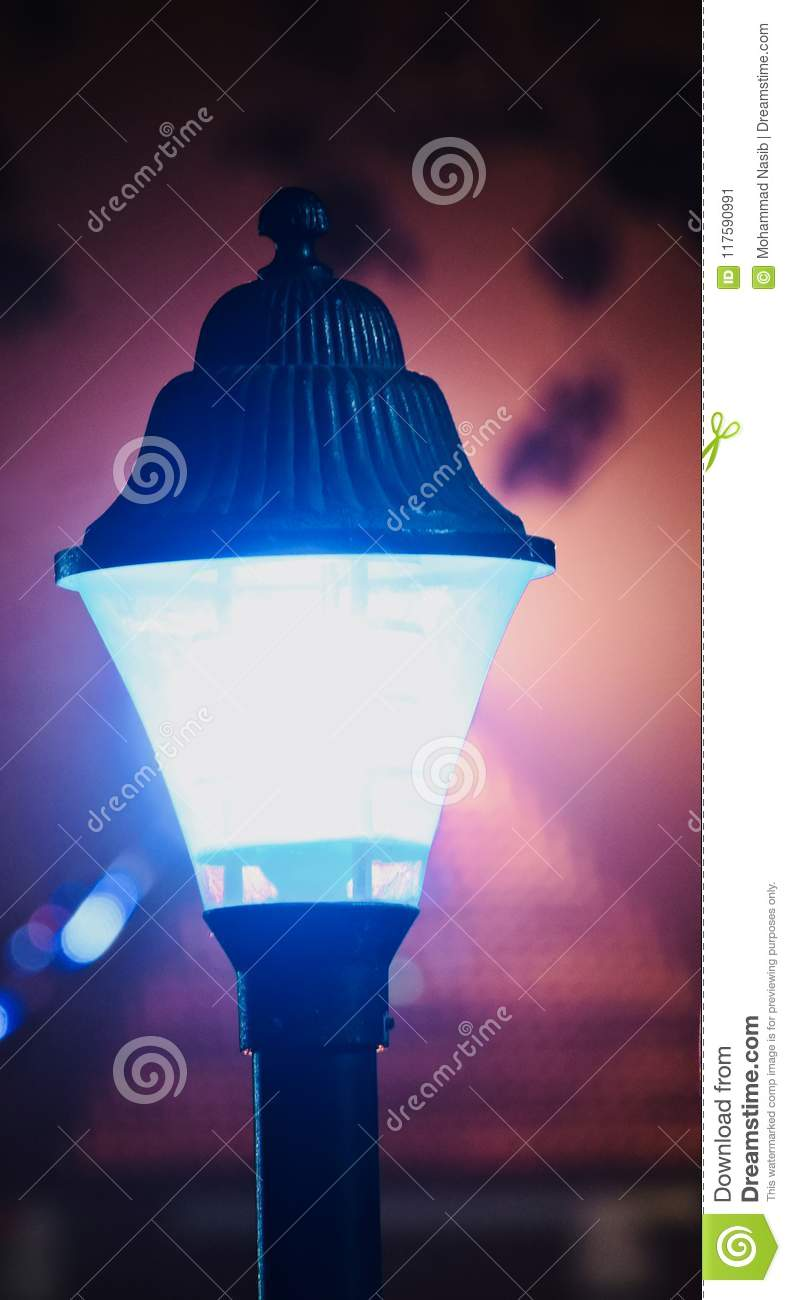 Download A Stylish Street Lamps At Night Unique Photo Stock Image - Image of beautiful, lamps: 117590991