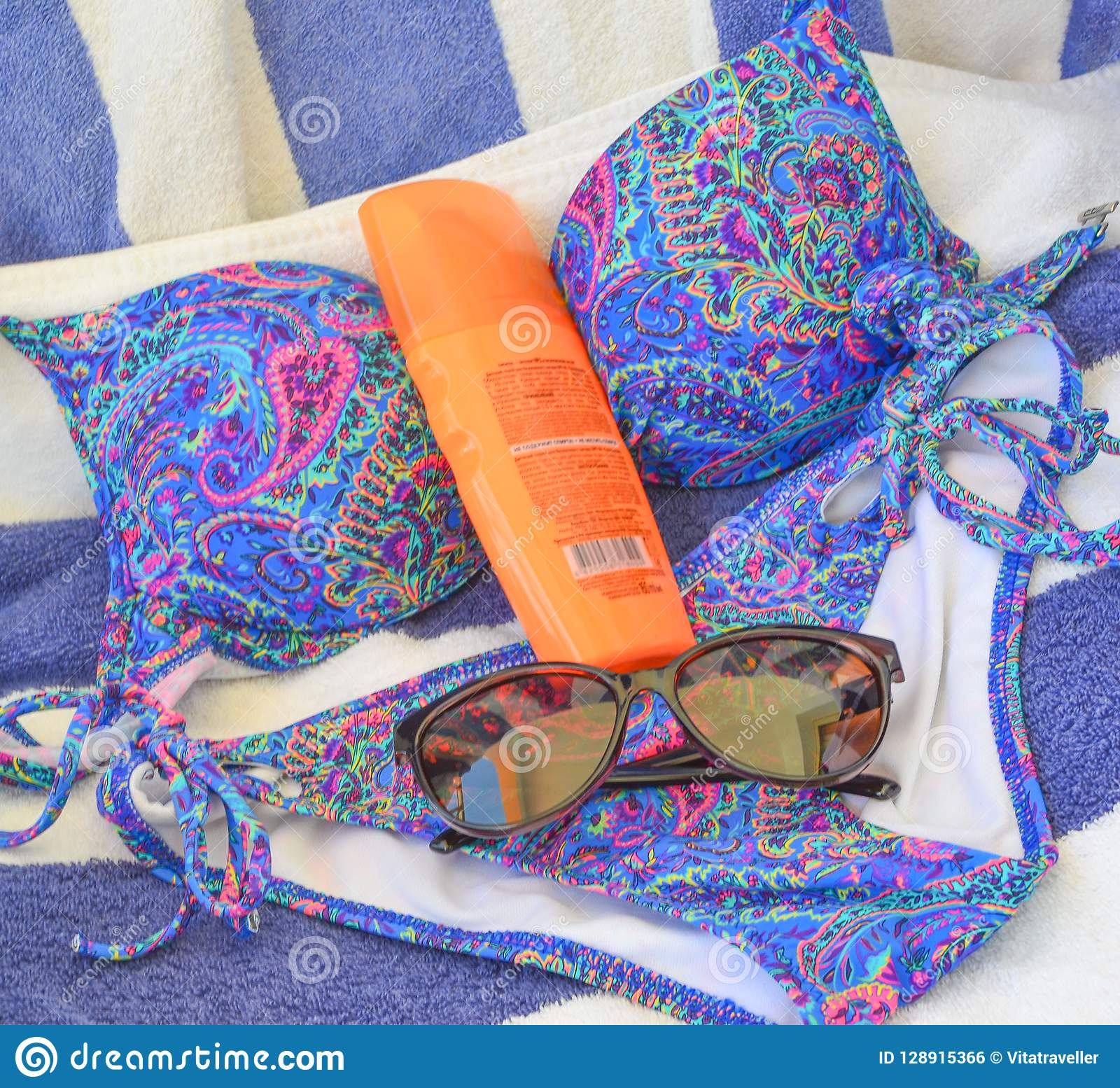 ff307f3886 Beachware And Accesories On Blue-white Towel Background. Stock Photo ...