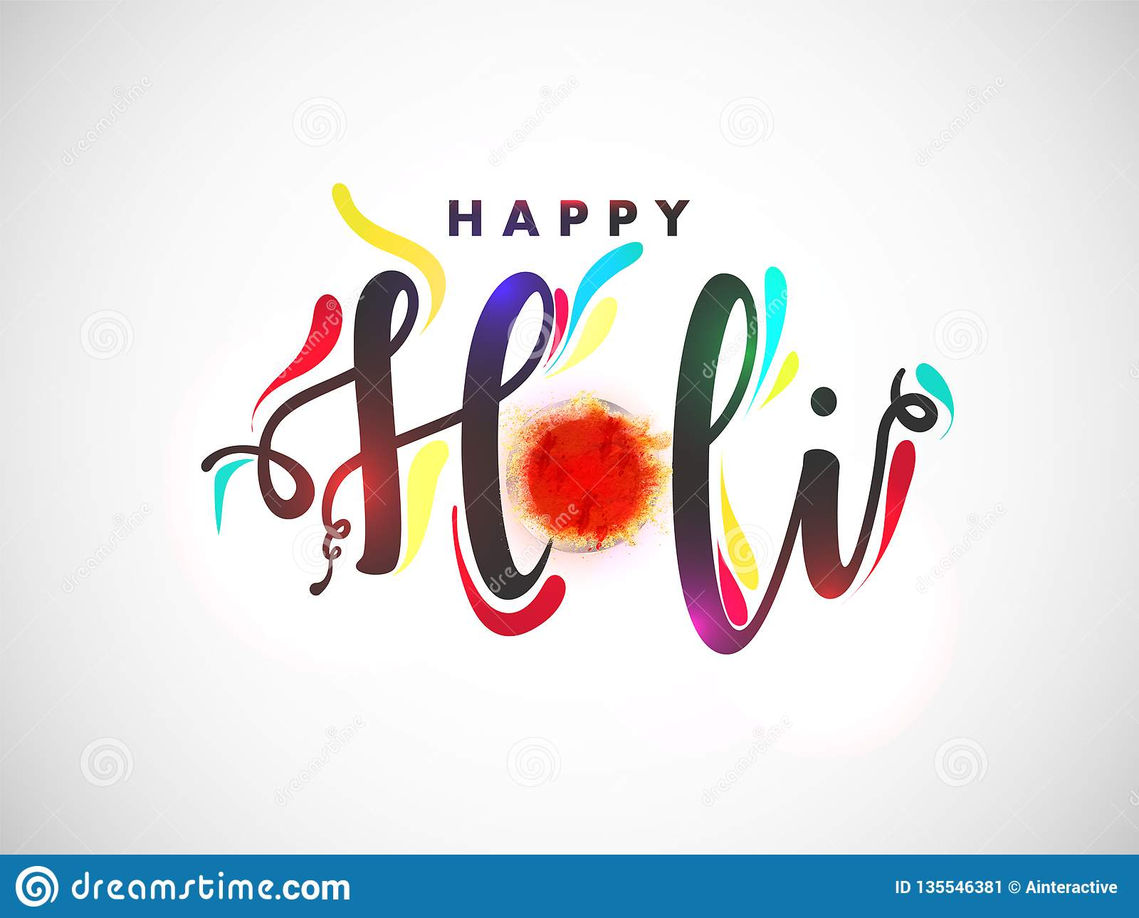 Stylish text Happy Holi with bowl full of dry colours on white background.