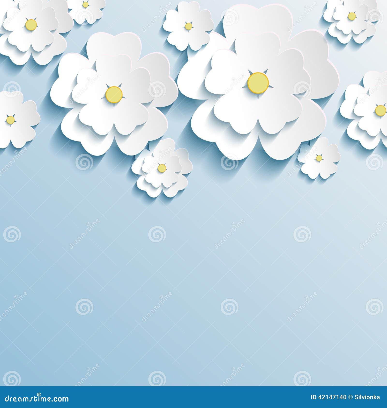 stylish trendy wallpaper with 3d flowers sakura stock