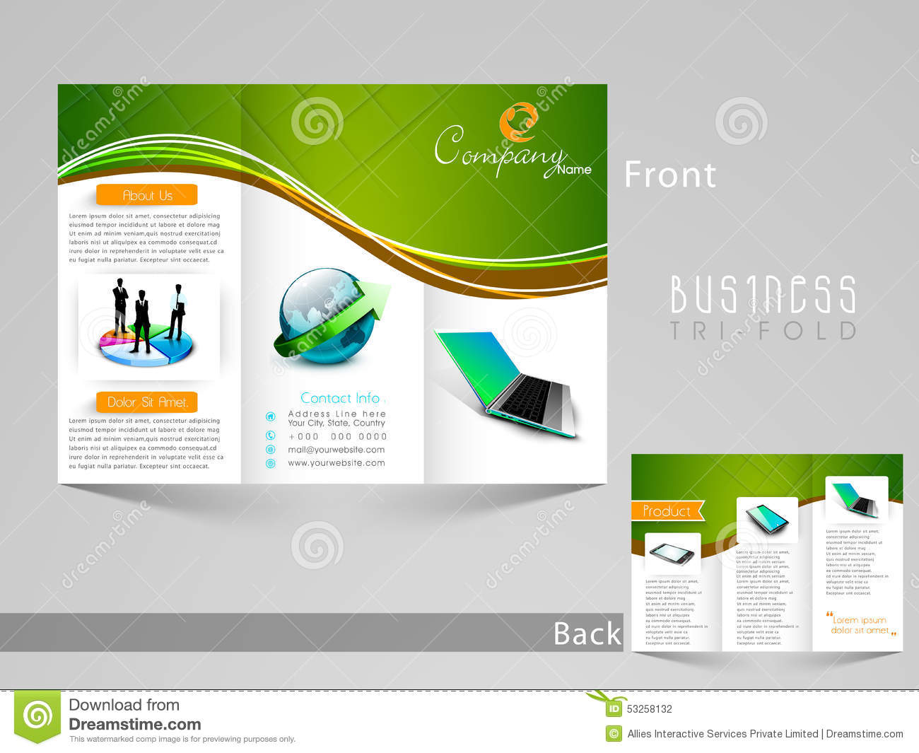 Stylish tri fold template brochure or flyer design stock for Professional brochure design templates