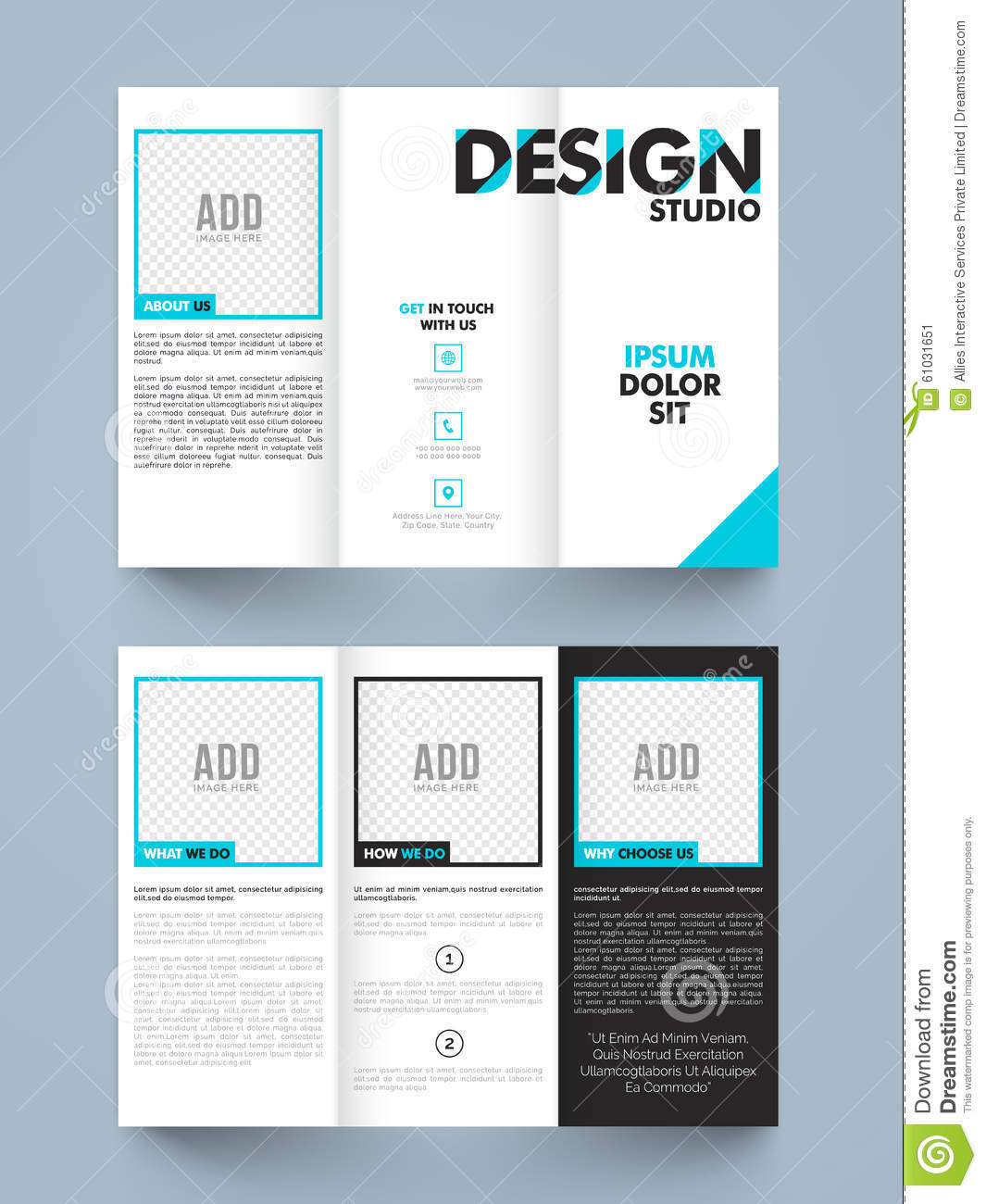 brochure template design - stylish trifold or brochure design stock illustration