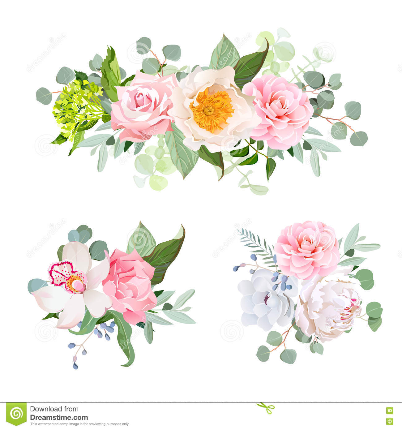 Stylish various flowers bouquets vector design set. Green