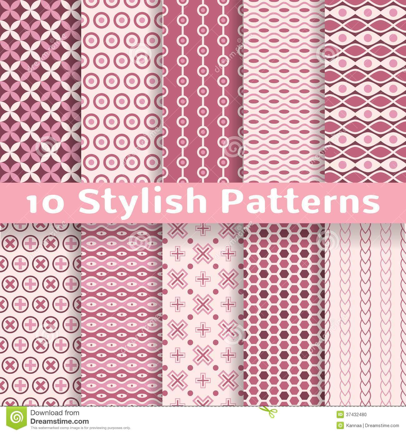 Stylish Vector Seamless Patterns (tiling). Pink Stock ...