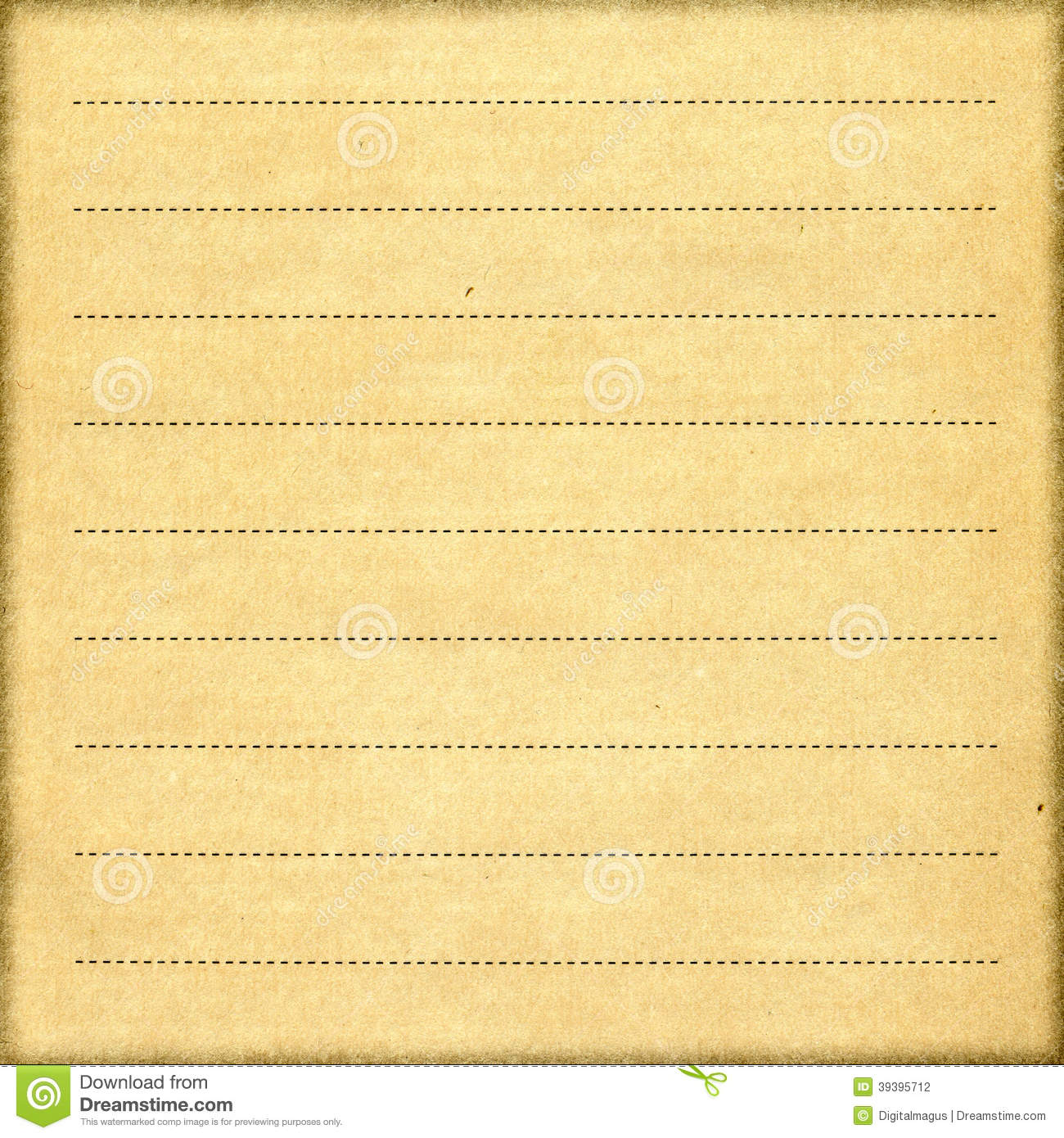 Stylish Vintage Notebook Paper Sheet Stock Photo Image