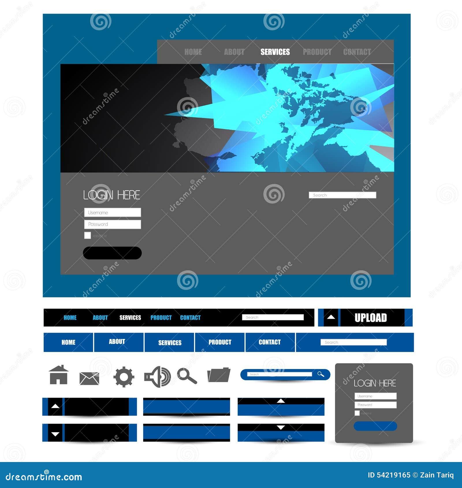 Stylish website template - portfolio layout with interface elements