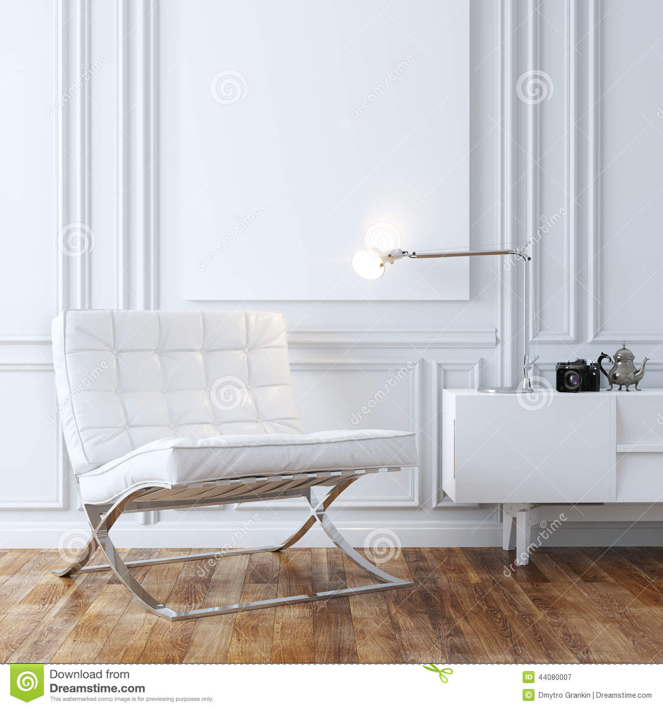 stylish white leather armchair in classic interior design stockstylish white leather armchair in classic interior design