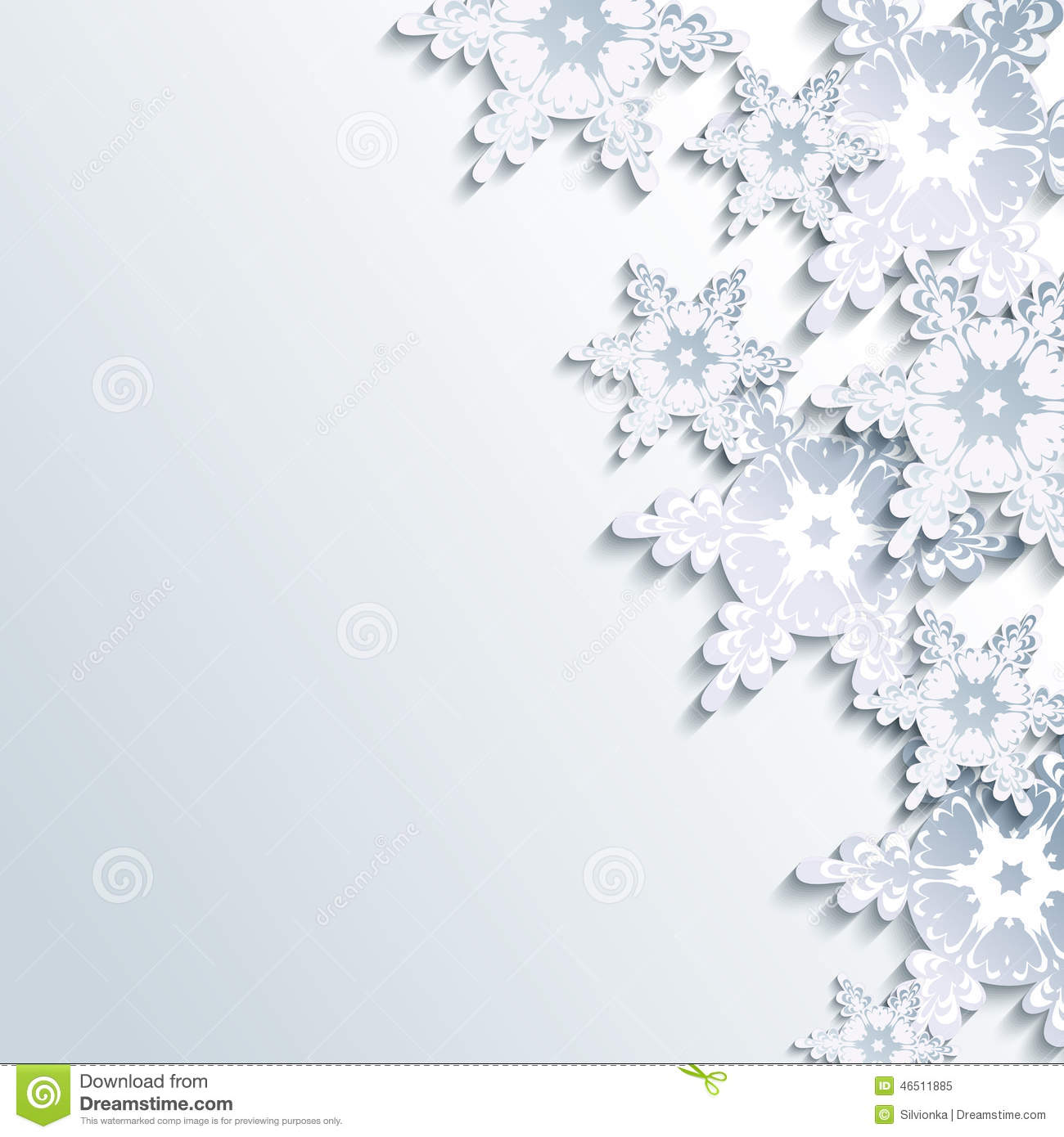 Stylish Winter Background Abstract 3d Snowflake Stock