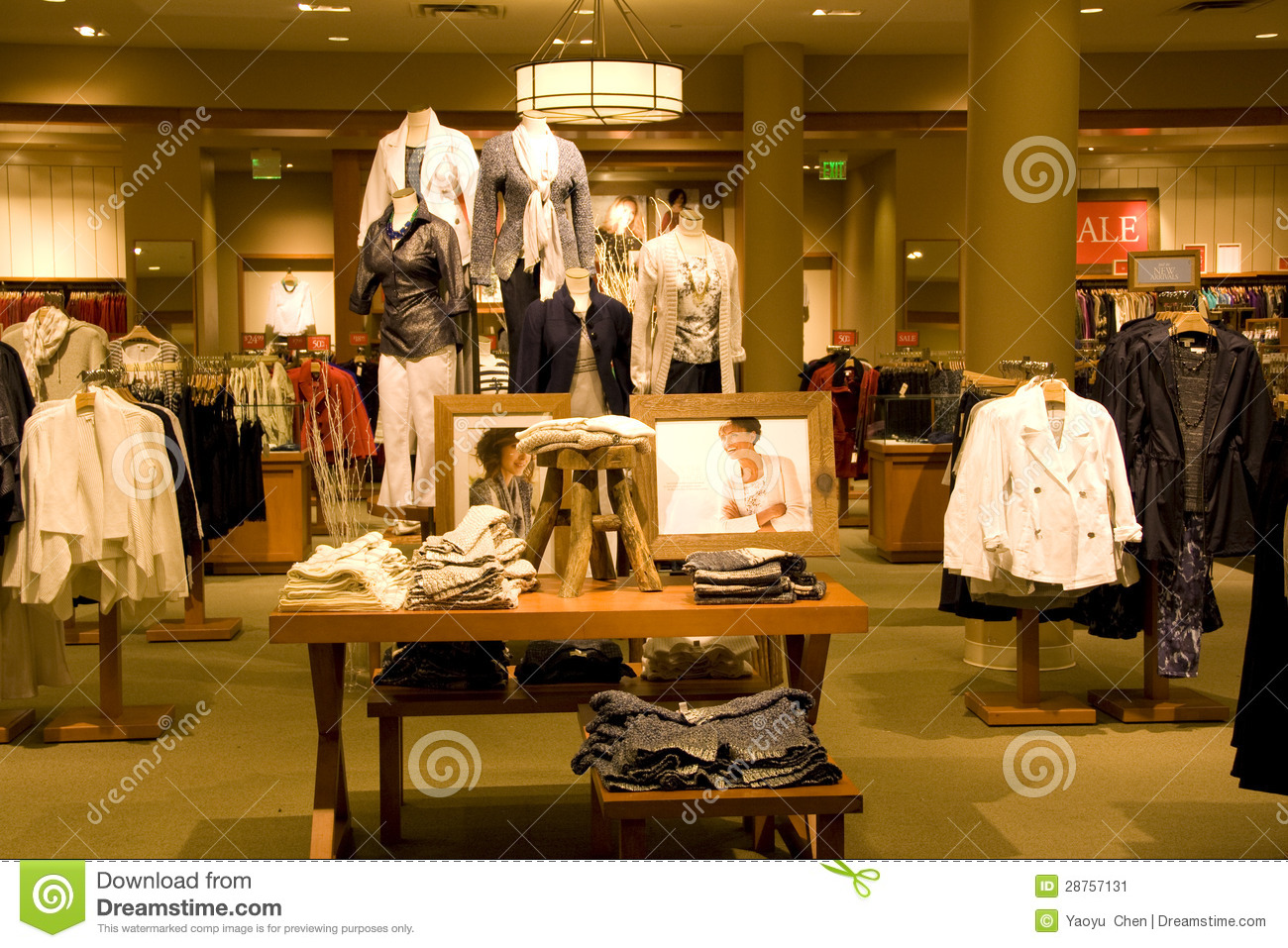 Stylish Woman Clothing Store Stock Image