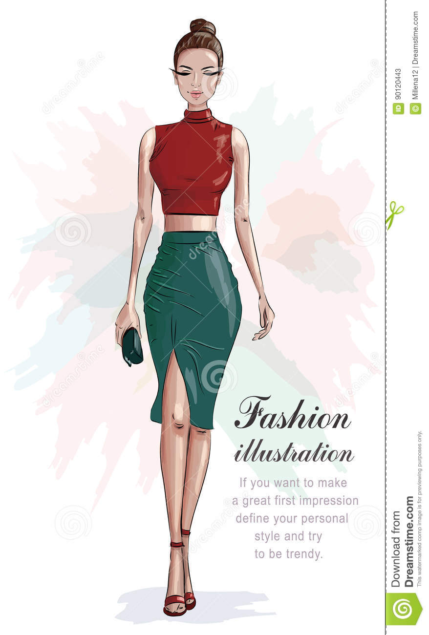 5597c92d1e9 Stylish woman in fashion clothes: red crop top and green skirt. Beautiful  fashion woman with hand bag. Sketch.