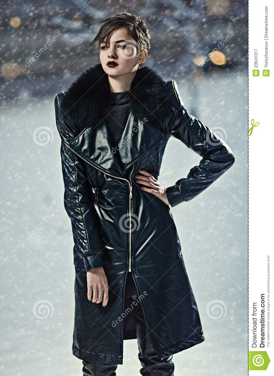 Stylish Woman In Leather Coat Royalty Free Stock Photography ...
