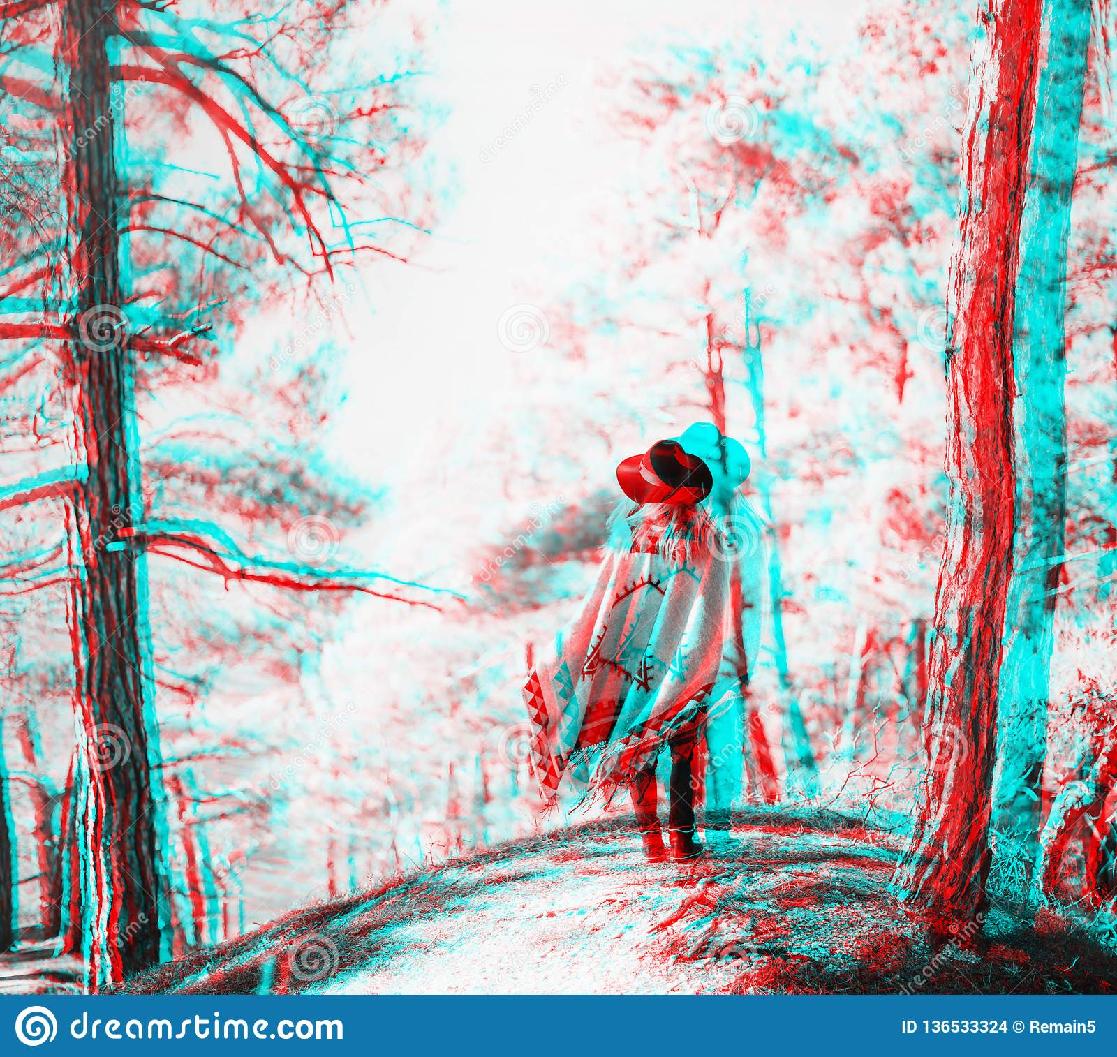 Anaglyph effect of woman in the forest.