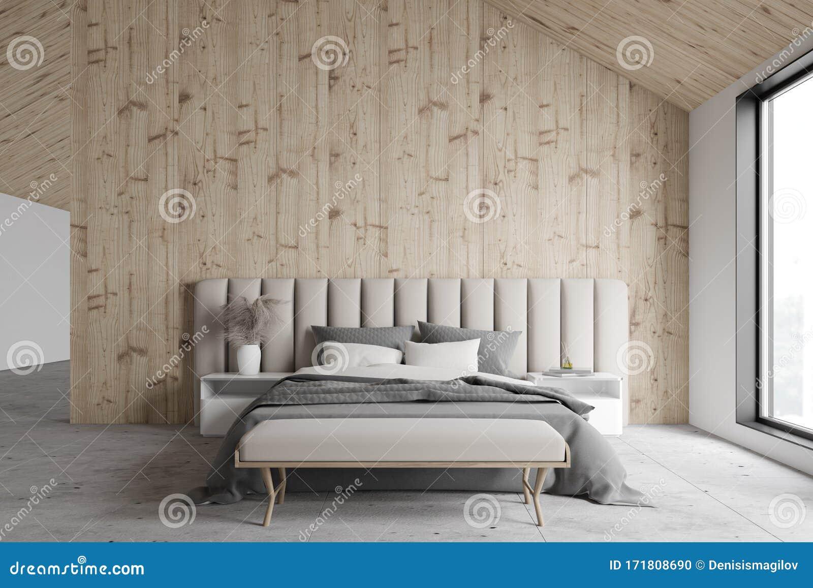 Stylish Wooden Attic Master Bedroom Stock Illustration
