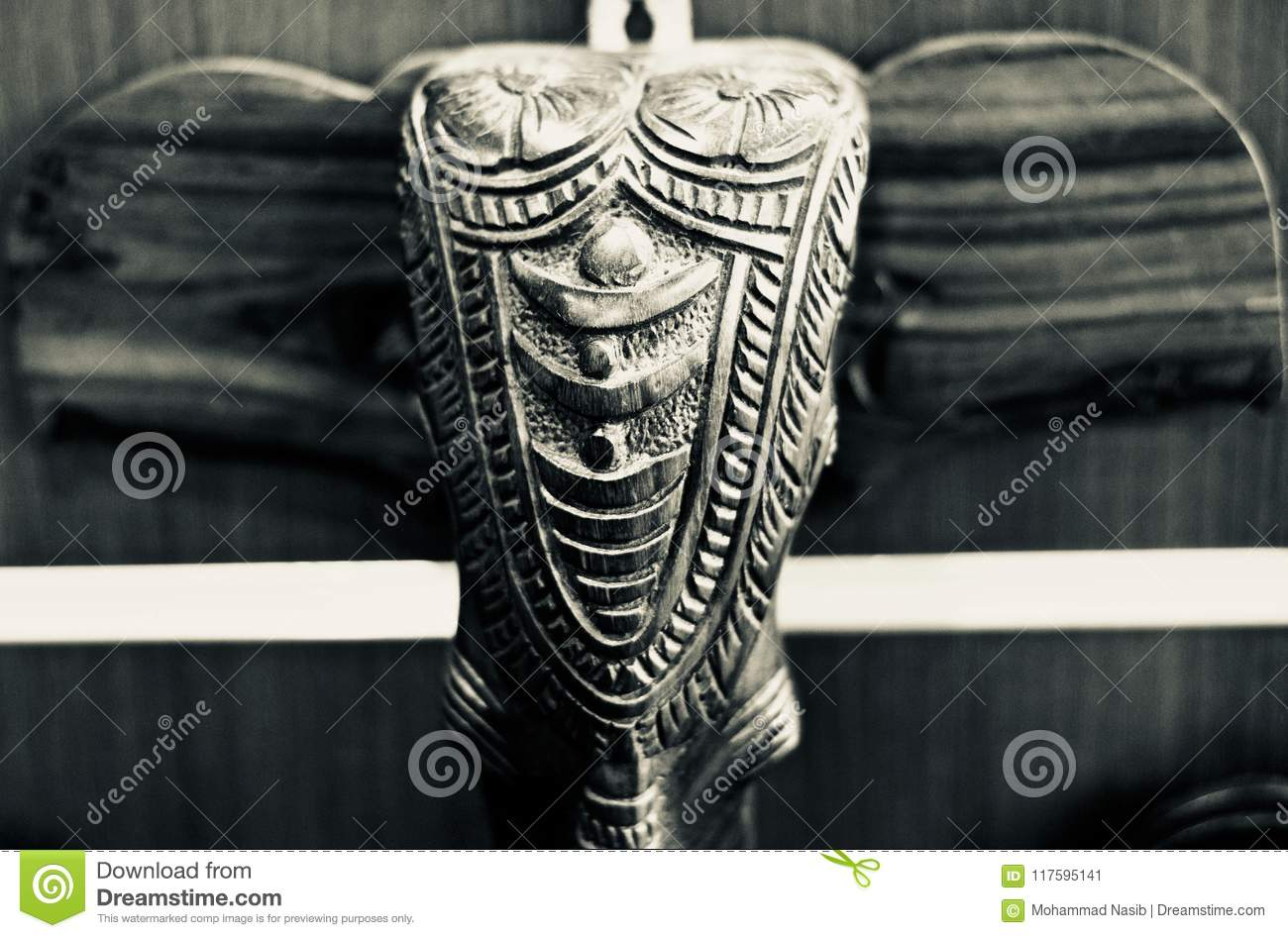 Download Stylish Wooden Made Head Of An Elephant  Unique Photo Stock Image - Image of structure, dummy: 117595141