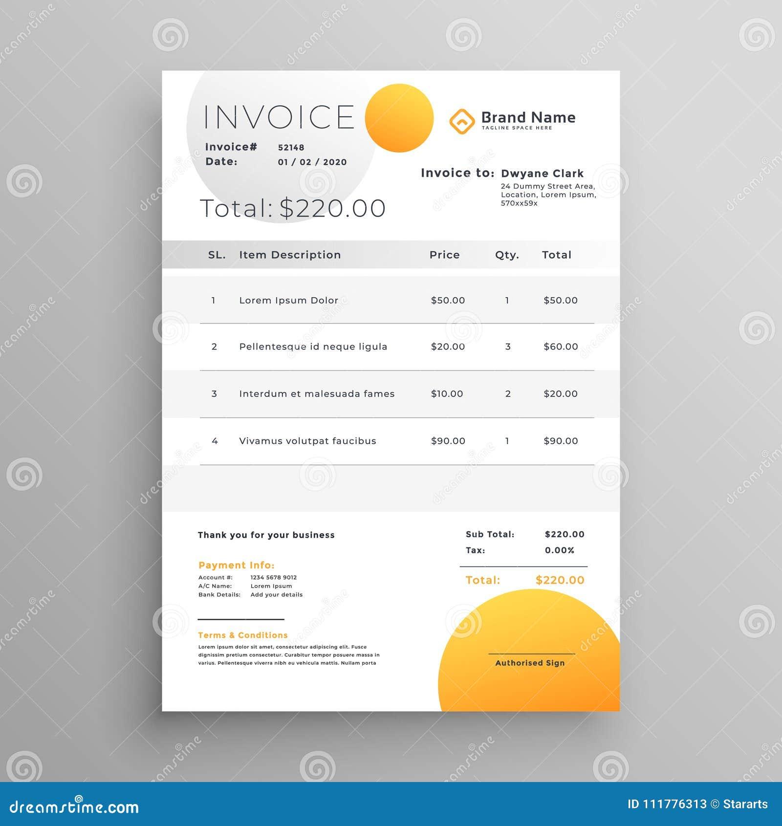 Stylish yellow vector invoice template