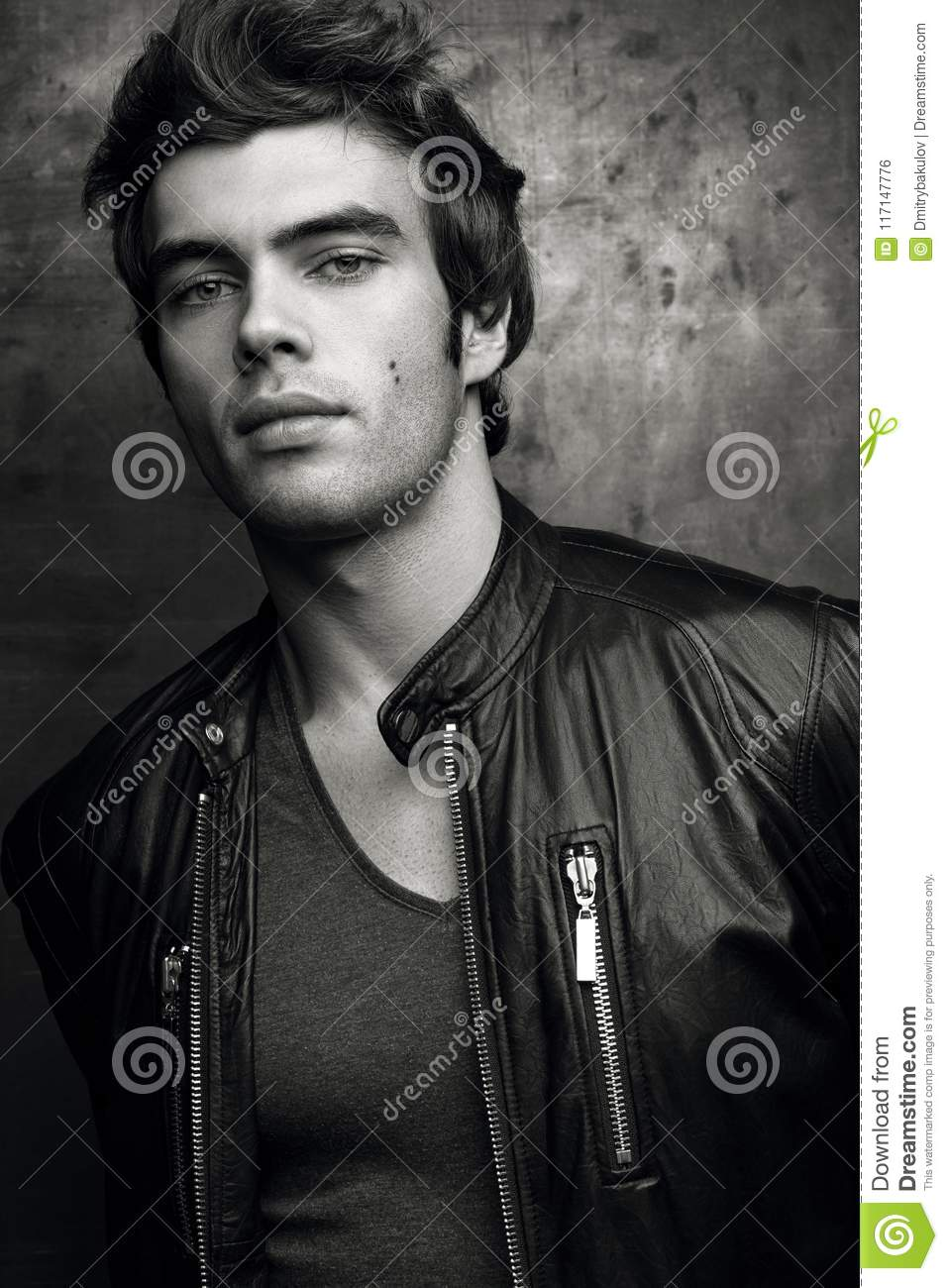 Stylish Young Man In Black Leather Jacket Contrast Black And White
