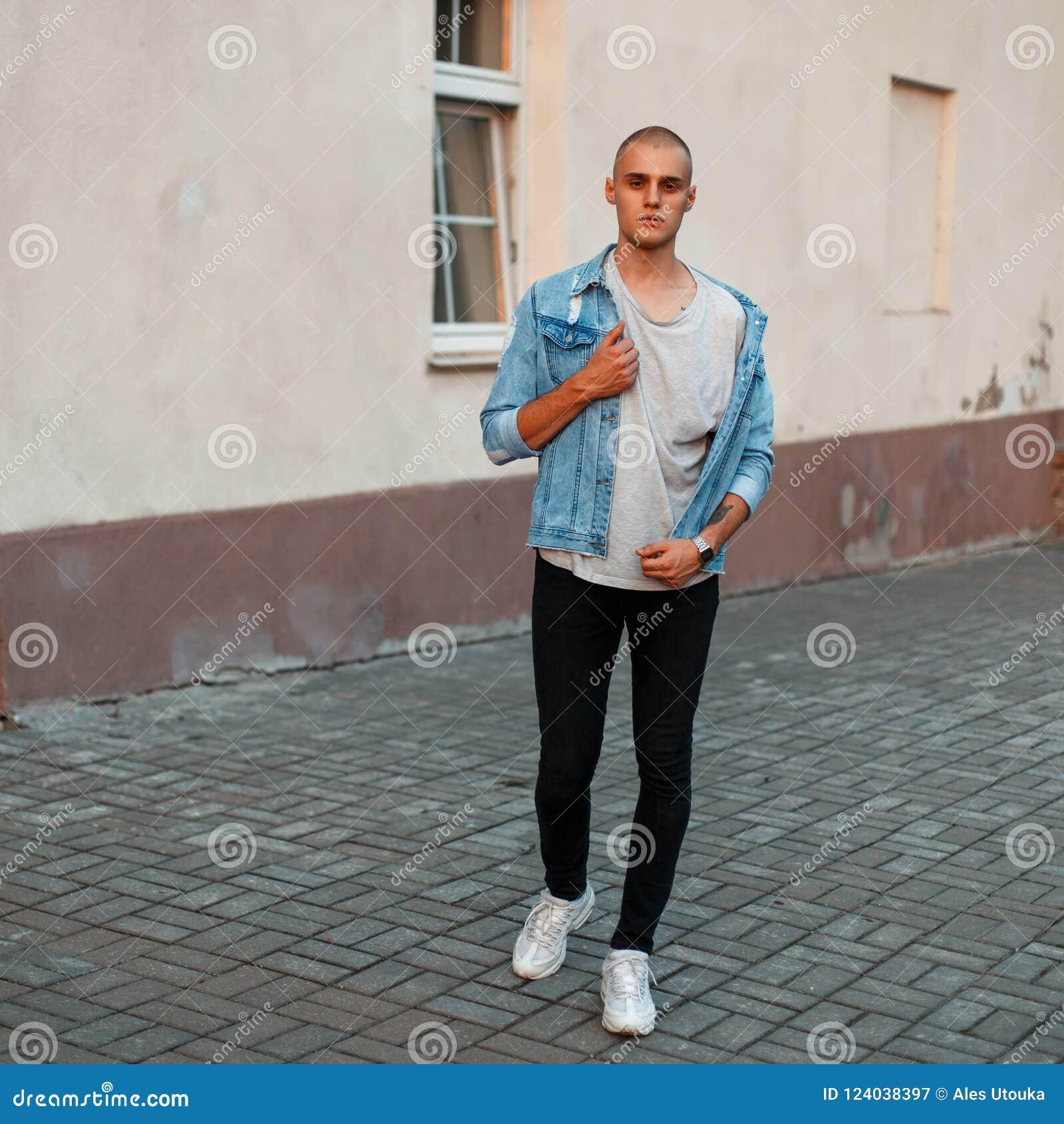 2bf2ef90b41 Stylish Young Man In A Denim Jacket