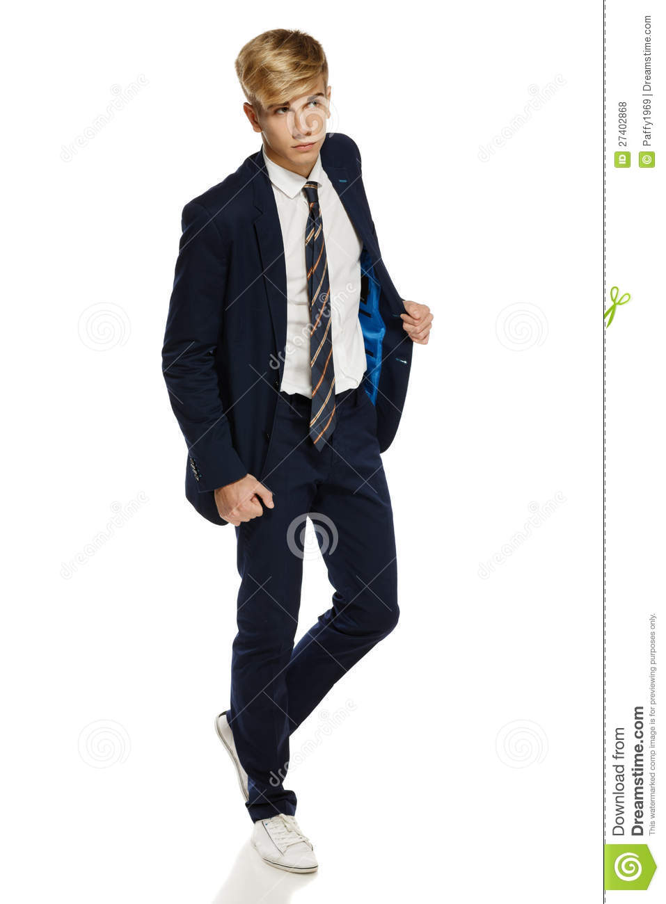 Stylish Young Man In Suit Walking Royalty Free Stock