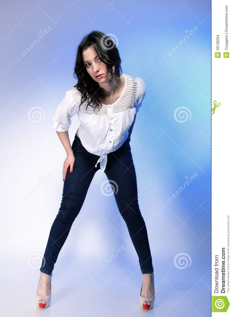 Stylish Young Plus Size Model In Fashion Jeans Stock Photo