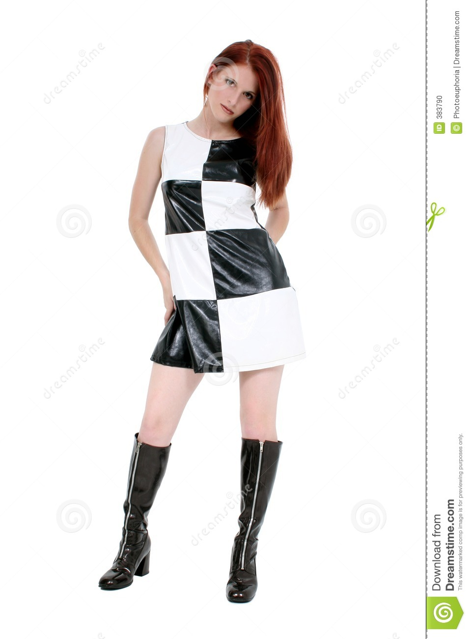 Stylish Young Woman In Leather Mini Dress And Stock Photo ...