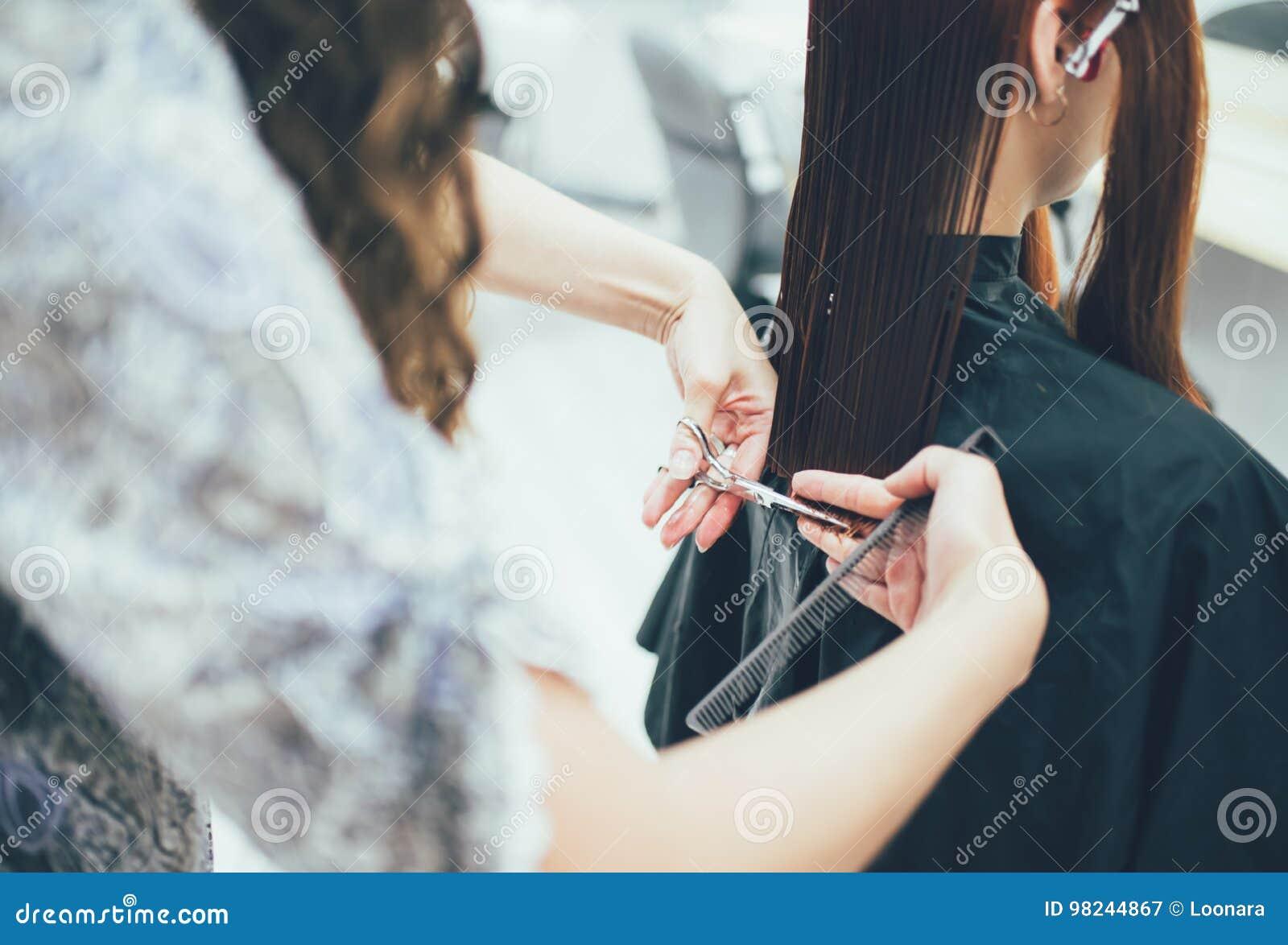 Stylist som arbetar i utforma för skönhetsalong, för frisyr och för hår