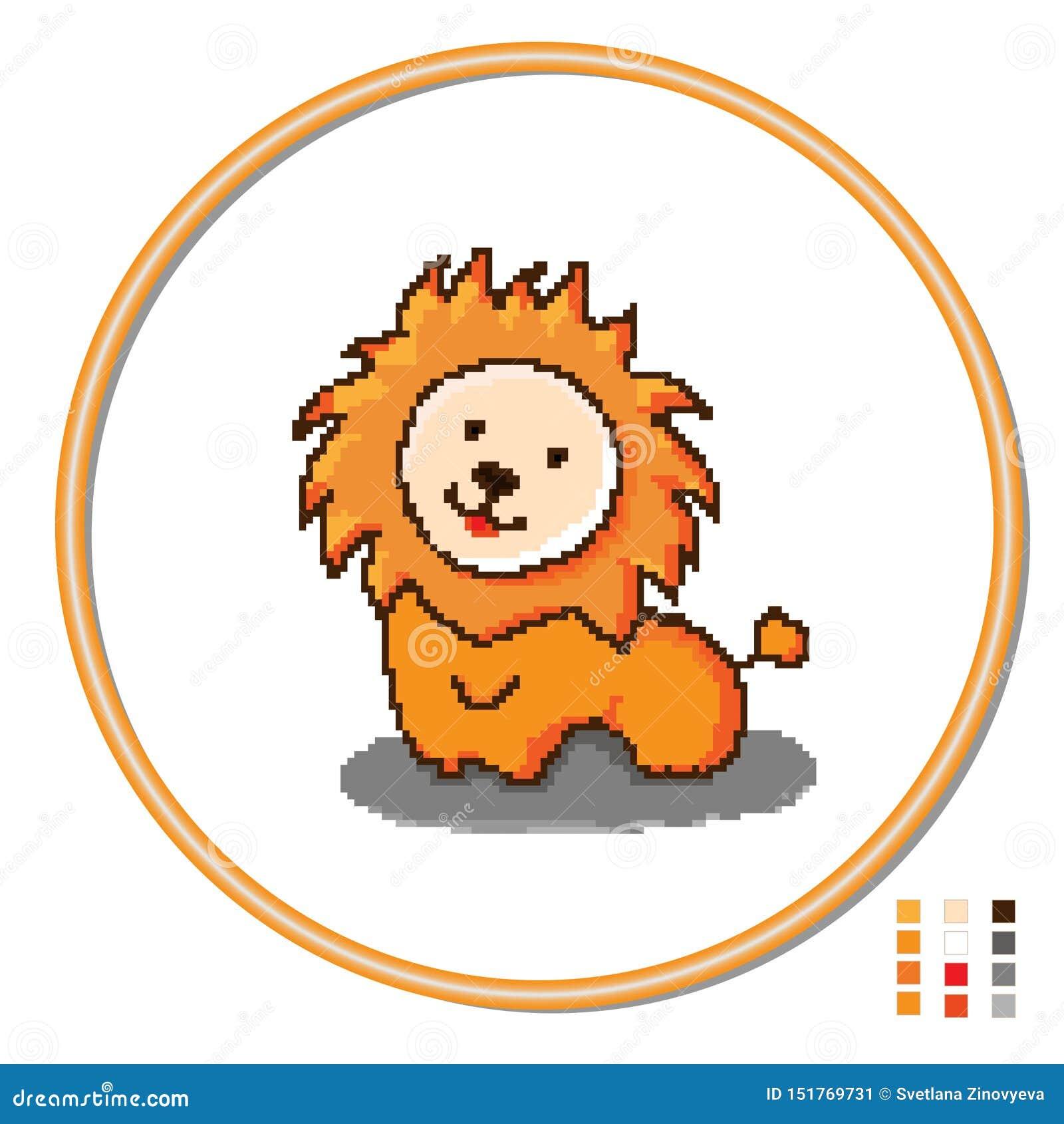 Stylization van dwars-stikt de leeuw van het kinderens speelgoed Vector
