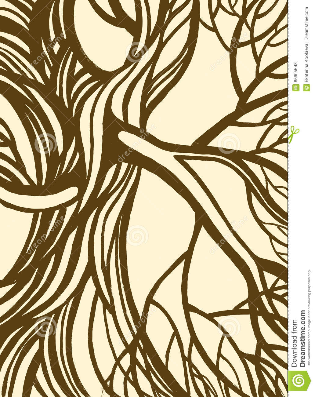 Stylized Abstract Vintage Tree. Stock Vector - Illustration of ...