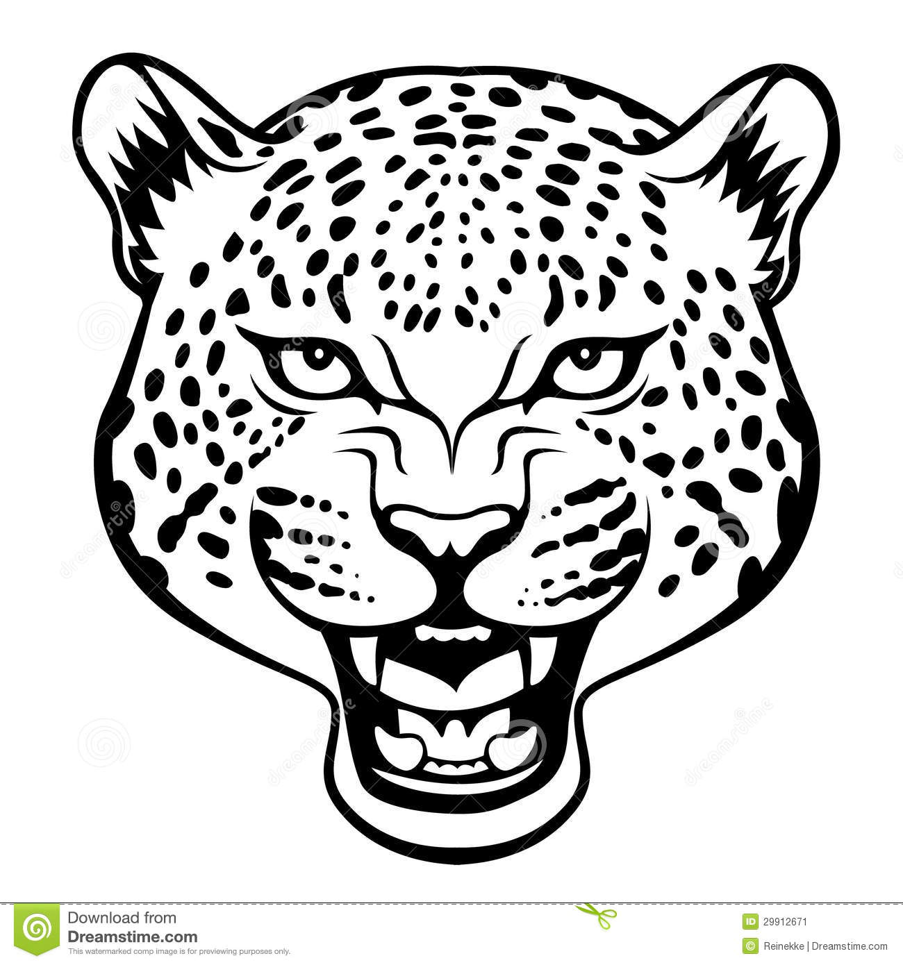 Stylized agressive leopard head black illustration.