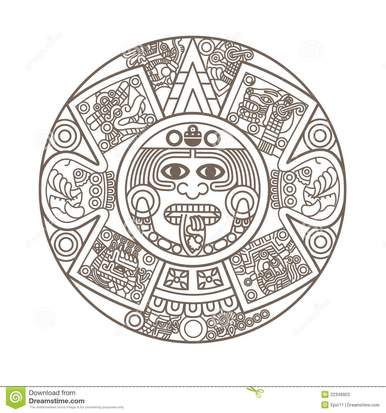 Stylized Aztec Calendar Stock Vector Illustration Of Culture 22349953