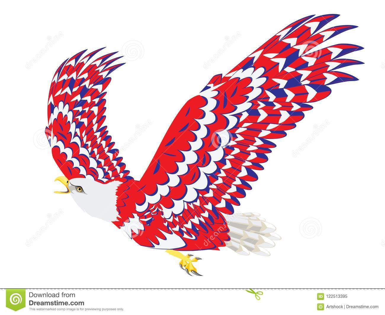 Blue Red And White Bald Eagle Stock Vector Illustration Of