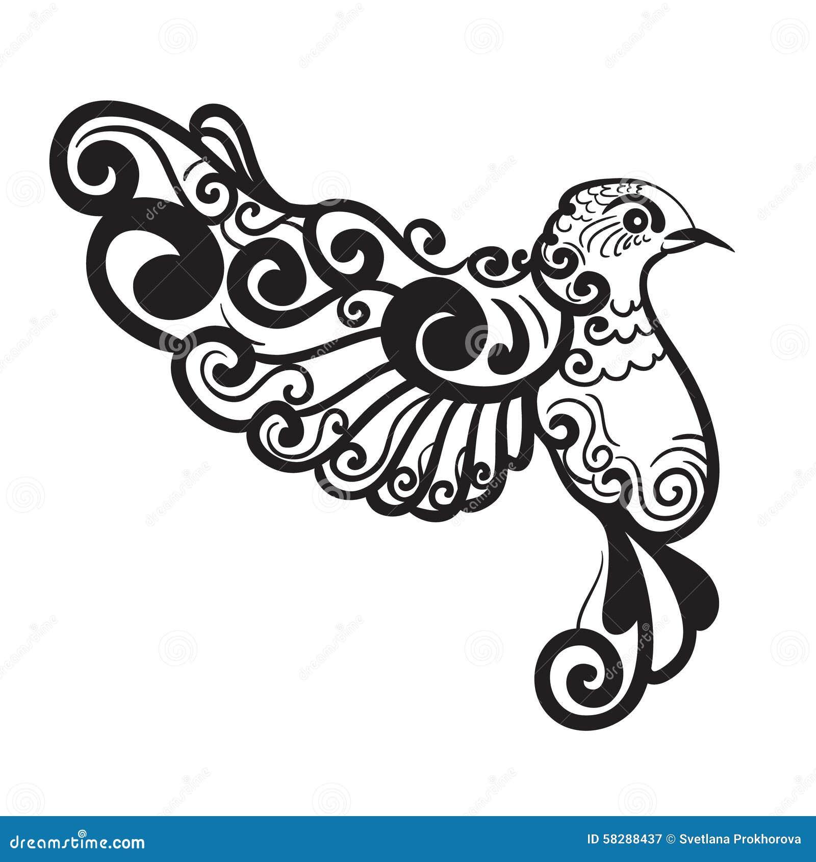 Stylized bird. Beautiful decorative vintage design elementDove Bird Drawing Tattoo