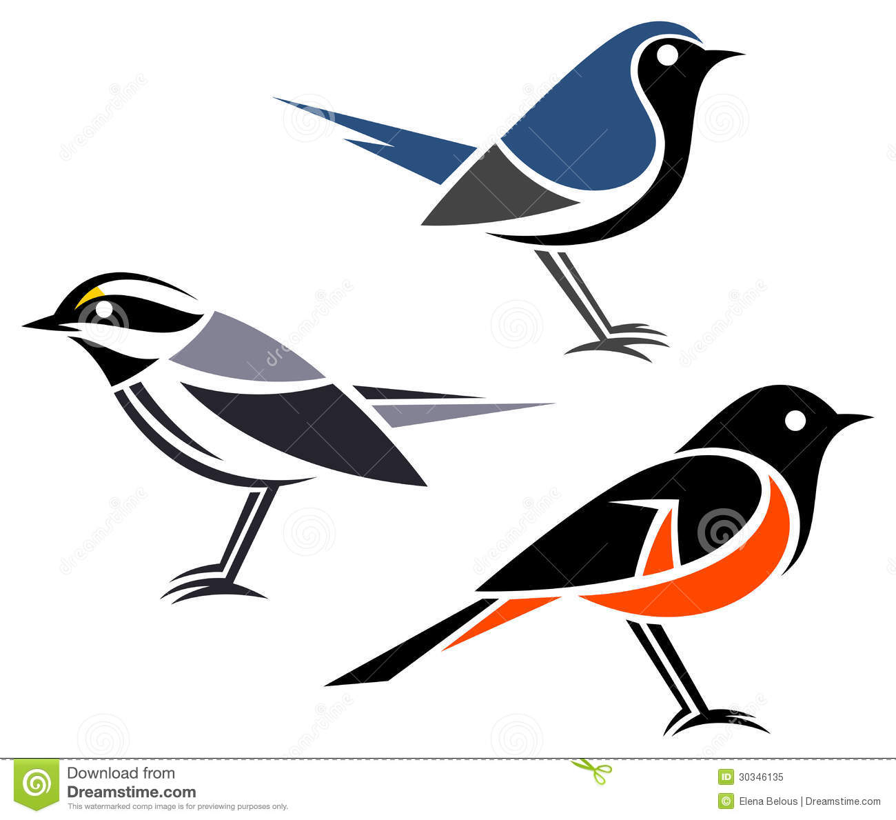 Stylized birds - Black-throated Gray Warbler, Black-throated Blue ...
