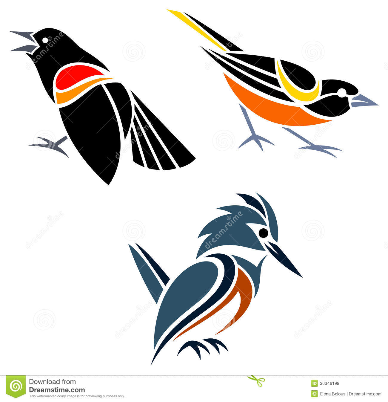 stylized birds royalty free stock photos image 30346198 blackbird clipart Blackbird Illustration