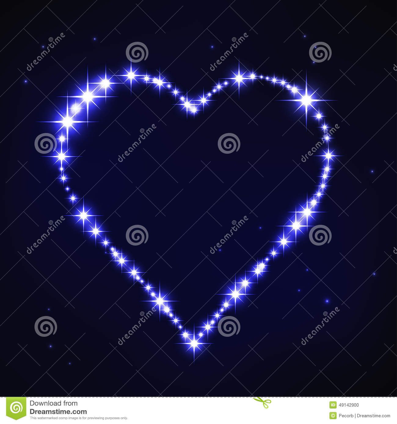 Stylized Blue Iregular Heart In Style Of Star