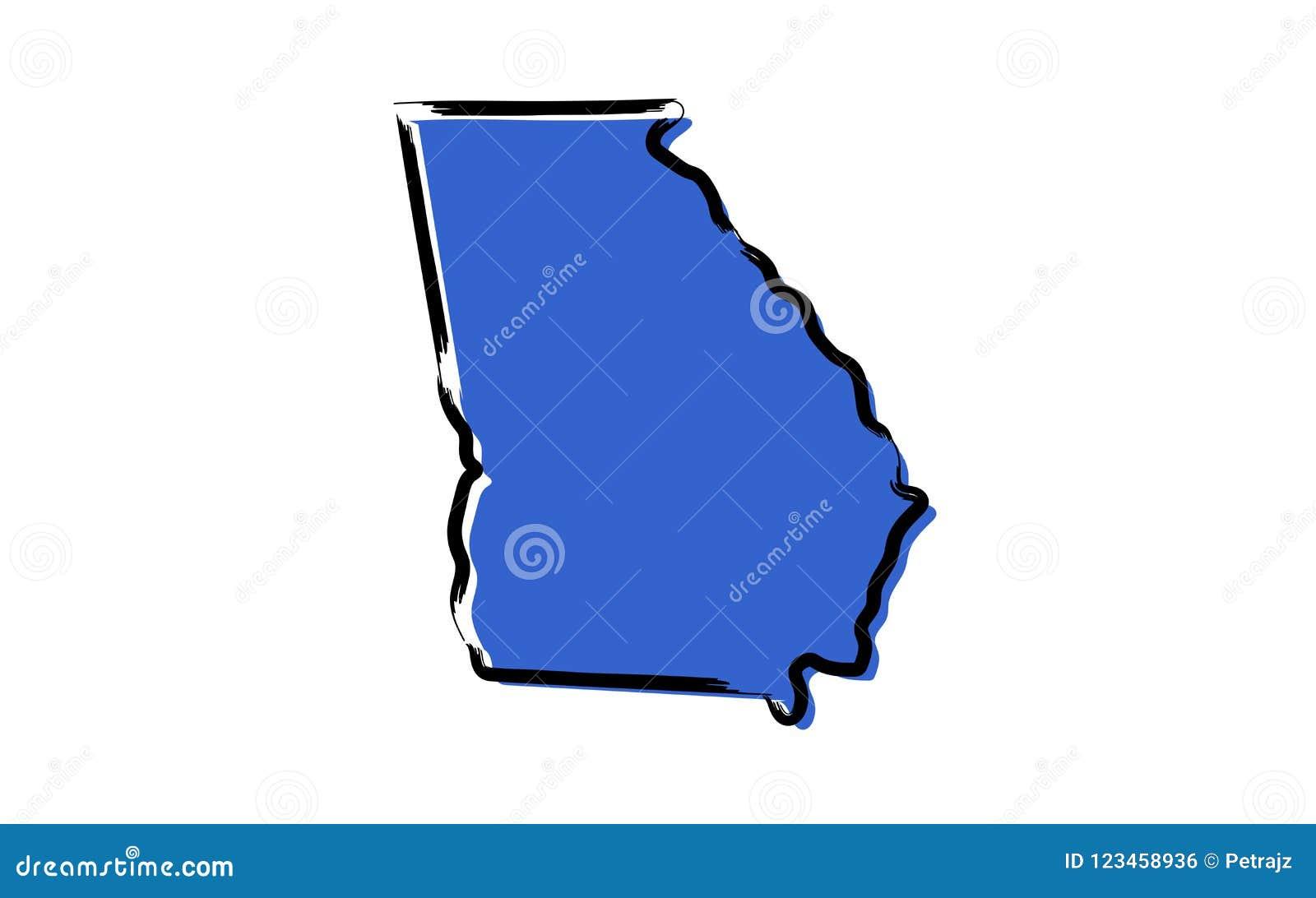 Stylized Blue Sketch Map Of Georgia, USA Stock Vector ... on georgia on map of asia, georgia on us map, georgia on europe map,
