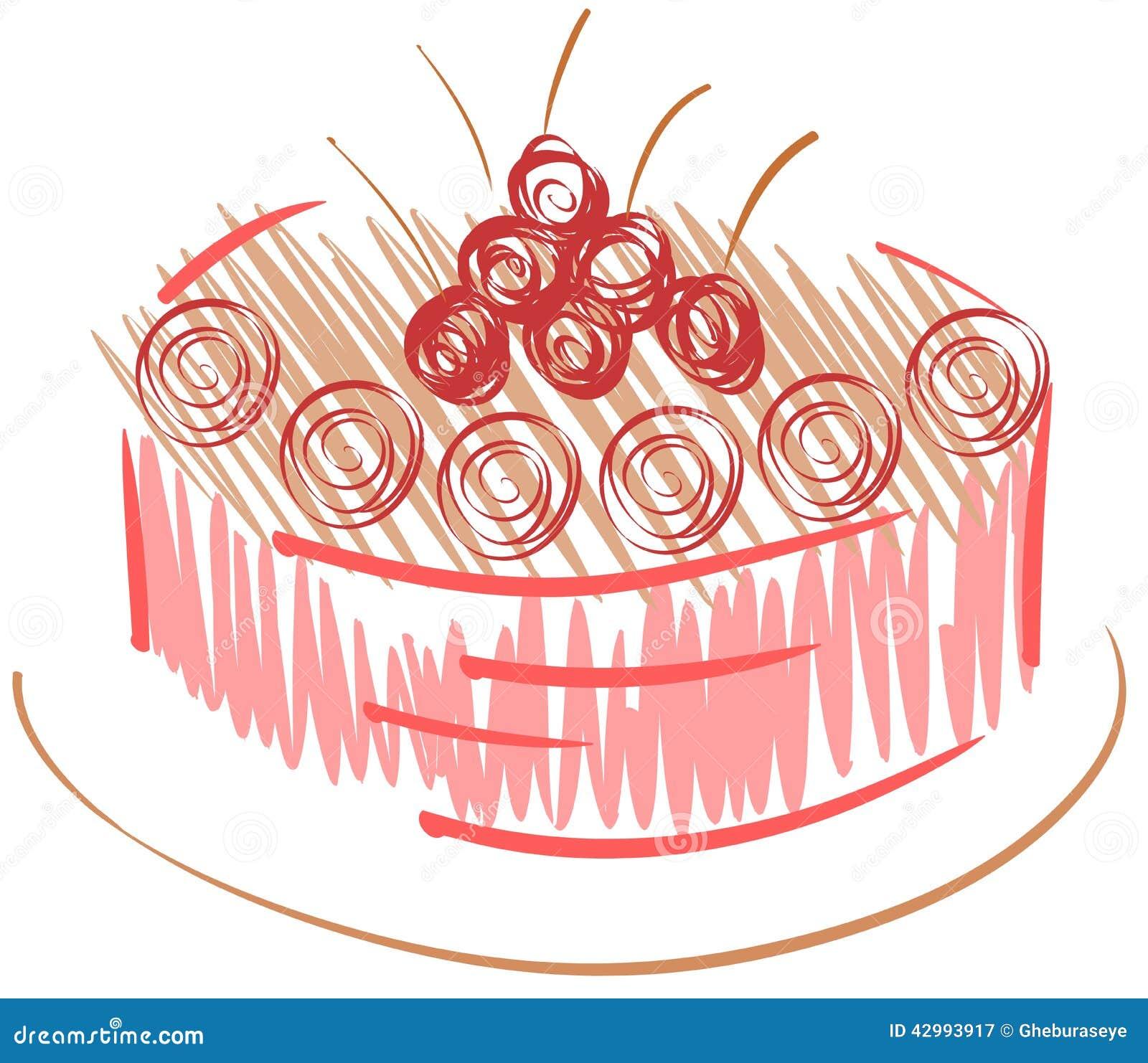 Stylized Cake With Cherries Stock Illustration Image