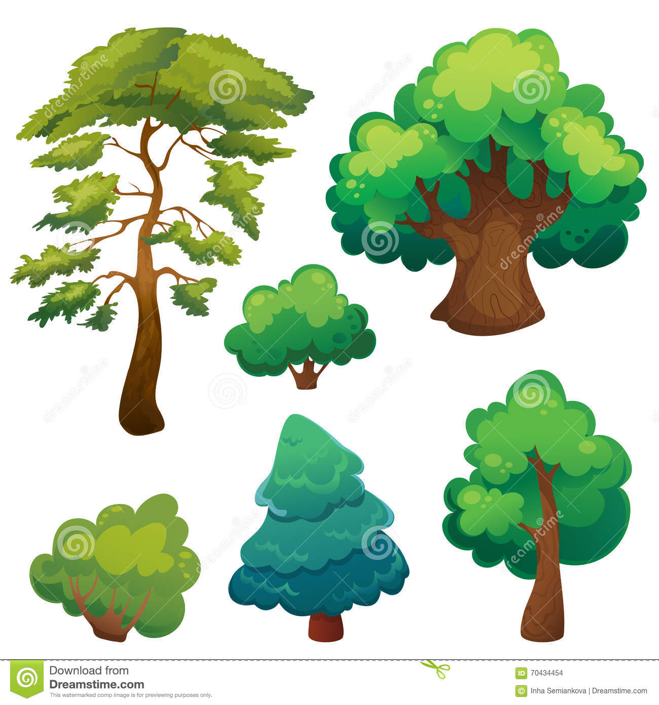 Stylized Cartoon Trees Set